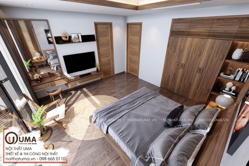 Thiết kế nội thất Liền kề Gamuda Garden - Anh Tuấn, , Gỗ óc chó, Sofa da, Thiết Kế Nội thất Nhà phố