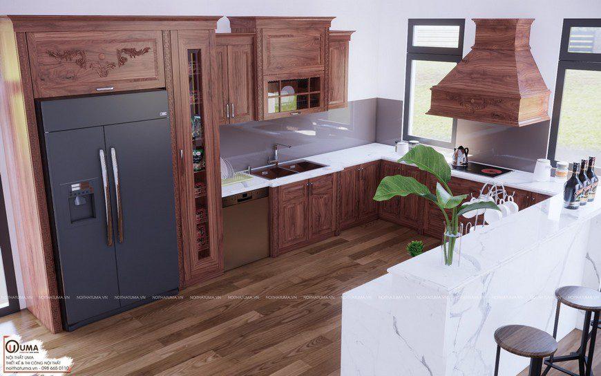 Tủ bếp gỗ xoan đào uma