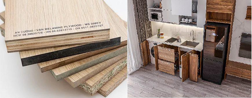 Tủ bếp sử dụng chất liệu acrylic An Cường