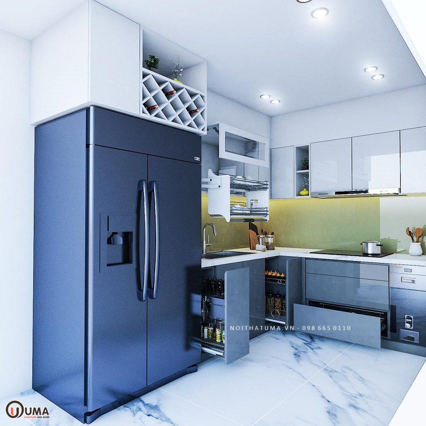 Tủ bếp sử dung chất liệu Acrylic