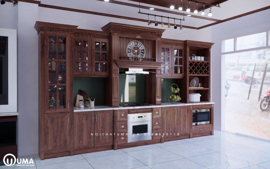 Tủ bếp gỗ Gõ đỏ – UGG 15
