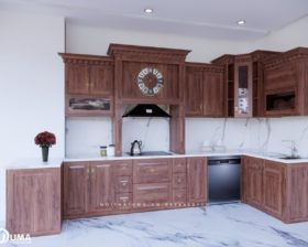 Tủ bếp gỗ Gõ đỏ – UGG 16