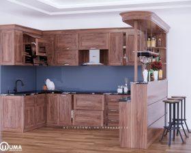 Tủ bếp gỗ Gõ đỏ – UGG 13