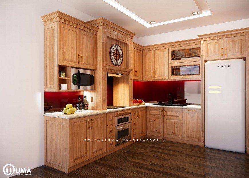Tủ bếp gỗ Sồi Mỹ - USM 01, tủ bếp gỗ Sồi Mỹ, ,