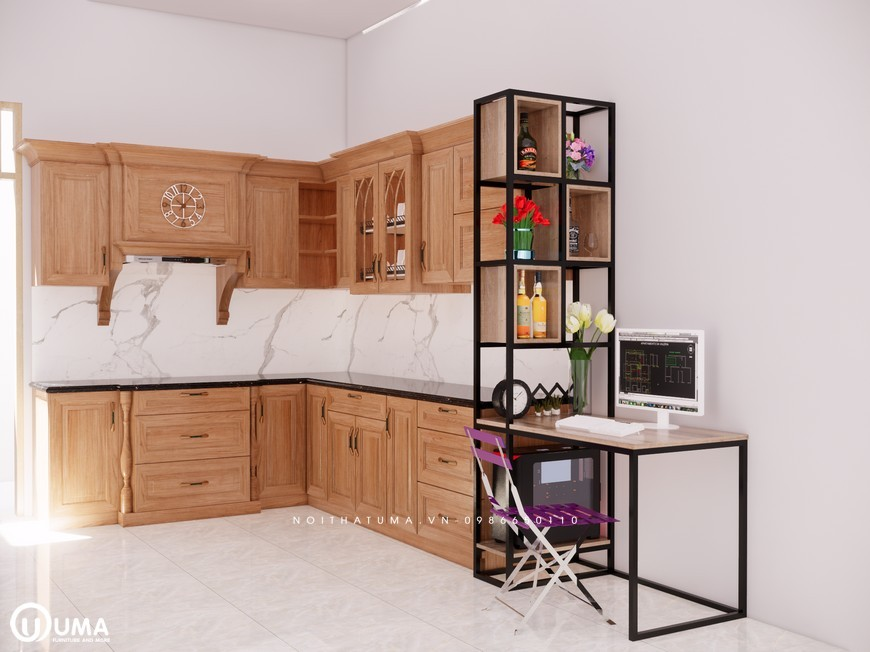 Tủ bếp gỗ Sồi Mỹ - USM 20, tủ bếp gỗ Sồi Mỹ, ,