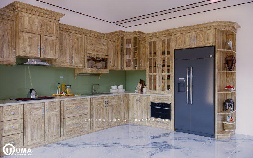 Top 150 Mẫu tủ bếp gỗ tự nhiên đẹp hiện đại nhất 2021, tủ bếp gỗ tự nhiên, gỗ Gõ đỏ, gỗ Sồi Mỹ, gỗ Sồi Nga, Góc tư vấn