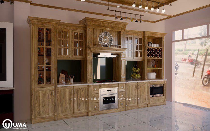 Tủ bếp gỗ Sồi Nga - USN 17, tủ bếp gỗ Sồi Nga, Tủ bếp Sồi Nga, Tủ bếp Sồi Nga