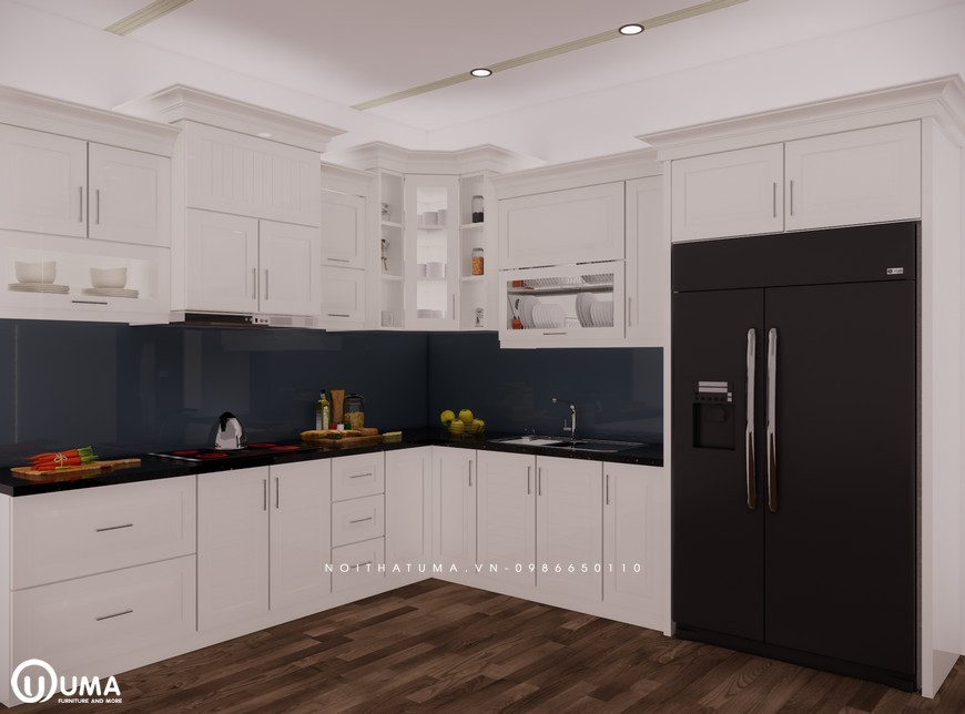 Tủ bếp gỗ Sồi Nga sơn trắng - UNT 07, , ,