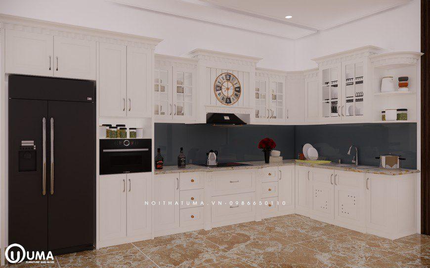 Tủ bếp gỗ Sồi Nga sơn trắng - UNT 09, , ,