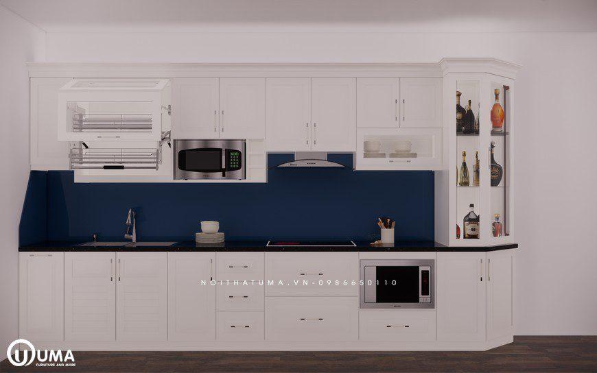 Tủ bếp gỗ Sồi Nga sơn trắng - UNT 12, , ,