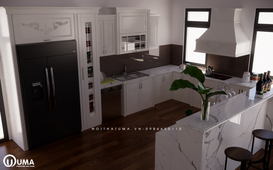Tủ bếp gỗ Sồi Nga sơn trắng - UNT 22, Tủ bếp gỗ Sồi Nga sơn trắng, ,