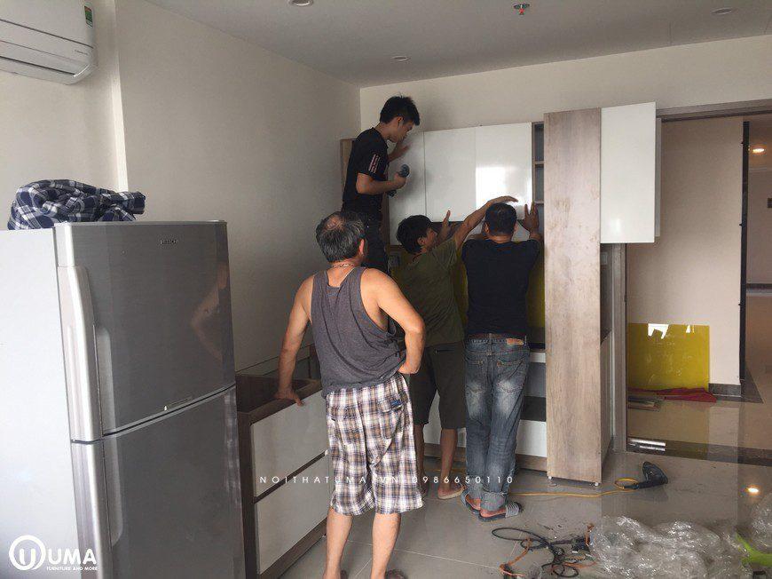 Thi công tủ bếp Melamin An Cường tại Tòa S2.07 Vinhomes Ocean Park