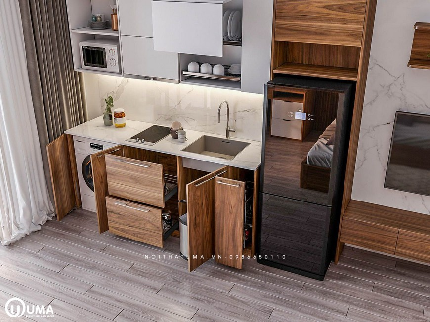 Công năng của một tủ bếp đầy đủ thiết bị và phụ kiện