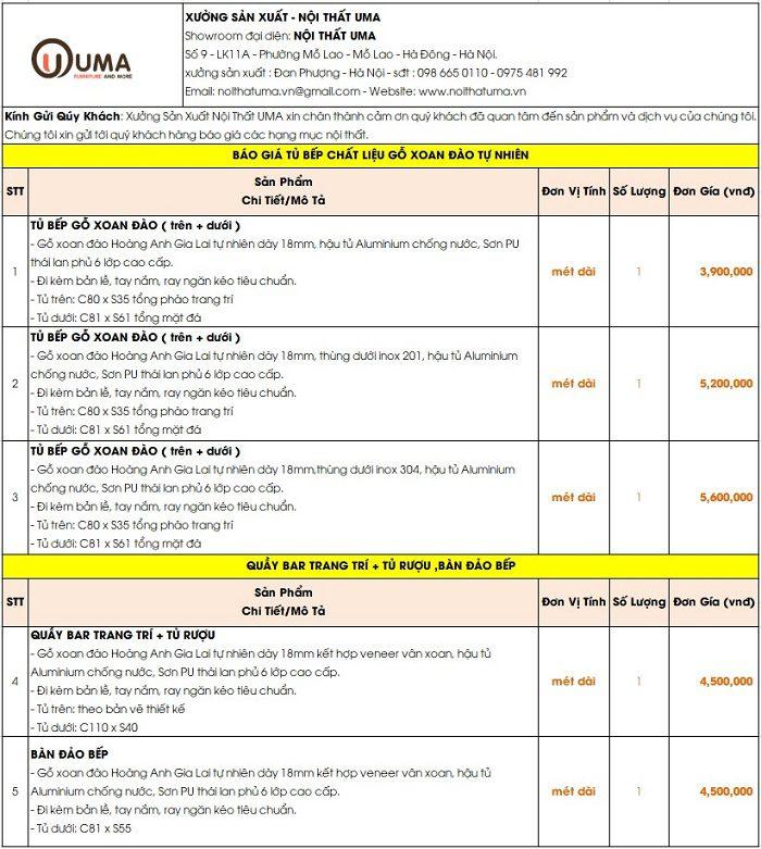 Báo giá tủ bếp gỗ Xoan Đào 2020