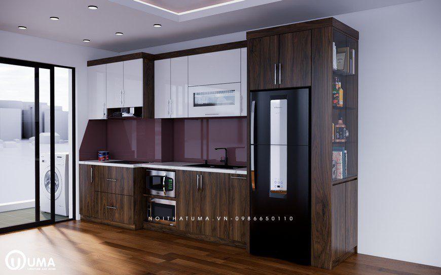 Mẫu chữ L tủ bếp Acrylic thịnh hành số một cho phòng bếp chung cư