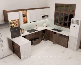 Tủ bếp Acrylic An Cường thiết kế kiểu chữ U