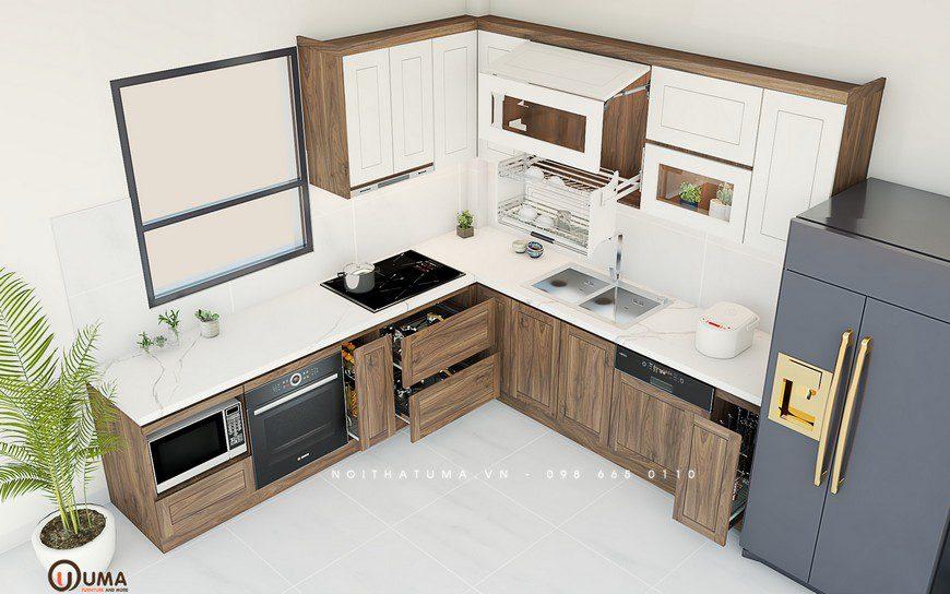 Tủ bếp gỗ Sồi Nga – USN 31
