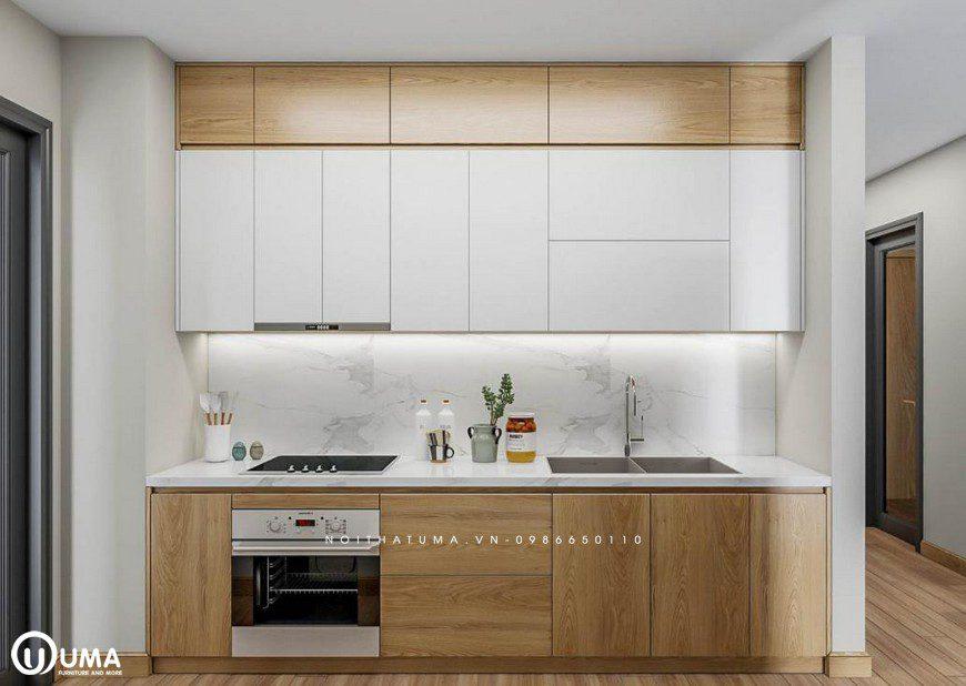 Mẫu tủ bếp Acrylic chữ I thích hợp cho không gian nhỏ của căn bếp nhà bạn