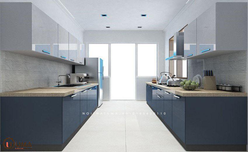 Tủ bếp Laminate song song của Nội thất UMA được thiết kế với 2 kệ đối xứng và độc lập nhau.
