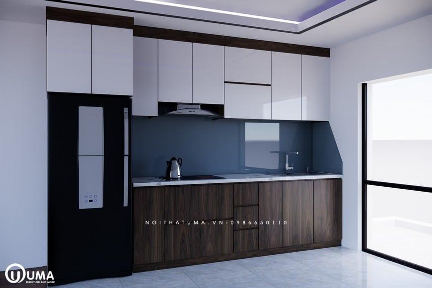 Với thiết kế tủ bếp Acrylic - UAC 19 có chất liệu chính sử dụng cho cánh tủ và cánh tủ là gỗ công nghiệp nhập khẩu cao cấp An Cường