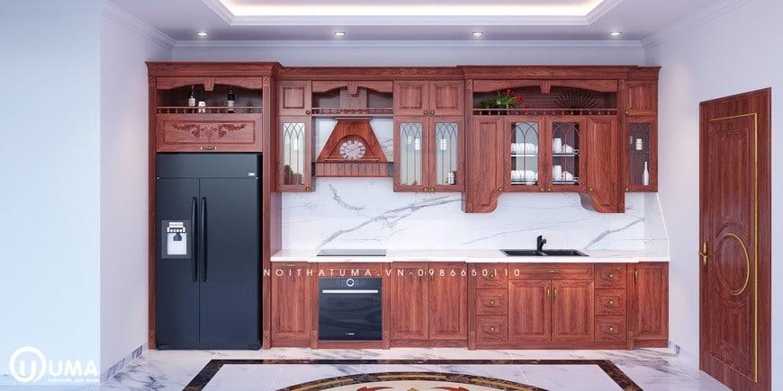 Mẫu tủ bếp kiểu tân cổ điển hình chữ I cao cấp
