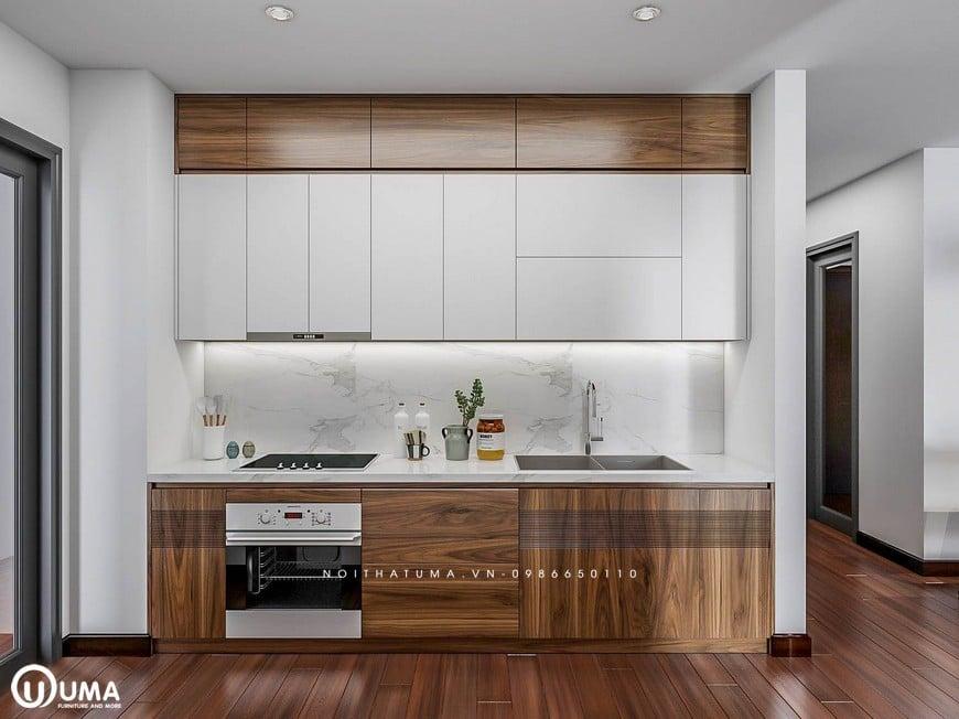 Tủ bếp Acrylic - UAC 32 có thiết kế hình chữ I có thêm ván sàn vừa tiết kiệm diện tích vừa phù hợp sử dụng cho nhiều không gian bếp.
