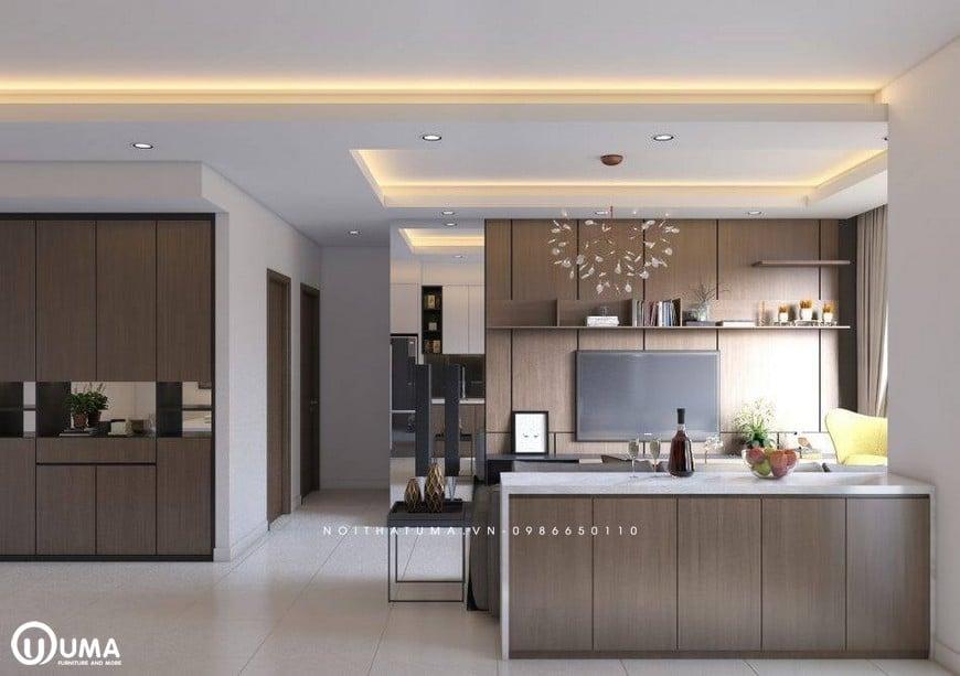 Tủ bếp Acrylic – UAC 45, Tủ bếp Acrylic, Mẫu tủ bếp đẹp, Mẫu tủ bếp đẹp