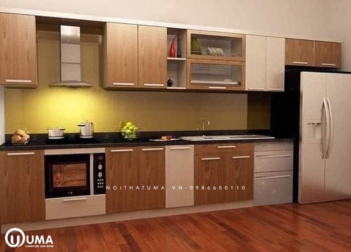 Mẫu tủ bếp inox đẹp cánh gỗ