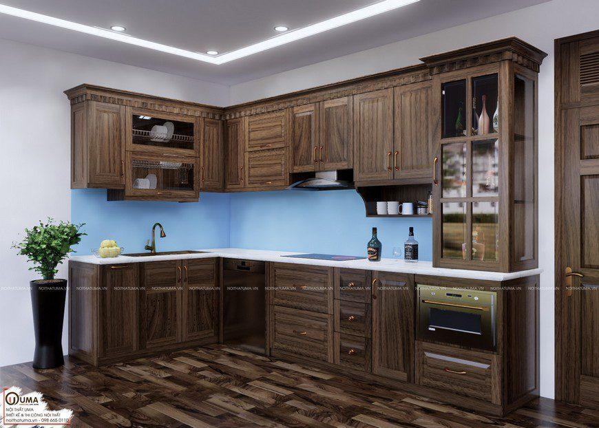 Mẫu tủ bếp gỗ óc chó chữ L với màu vân gỗ tuyệt đẹp