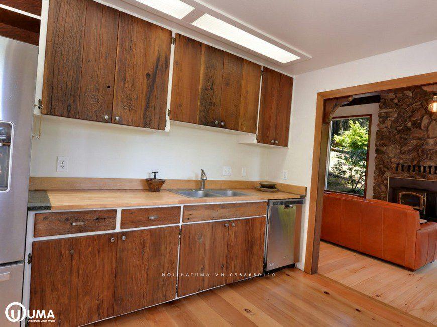Tủ bếp gõ đỏ chữ I