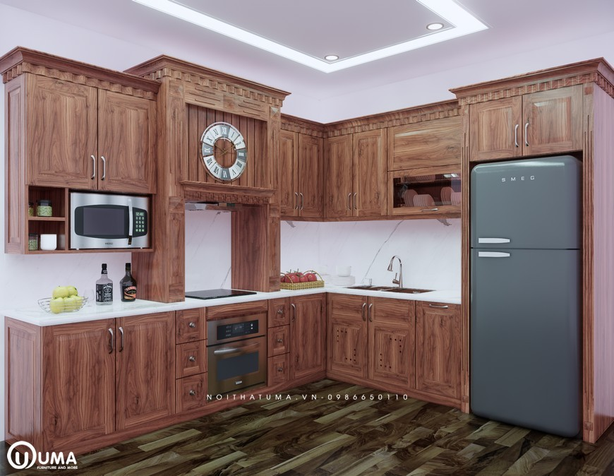 Tủ bếp gỗ gõ đỏ chữ L uma