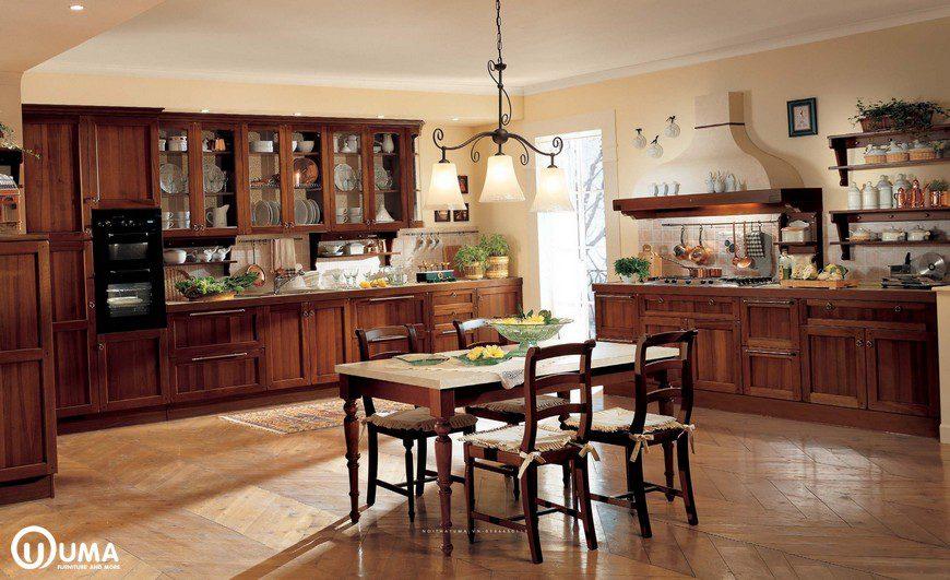 Tủ bếp gỗ gõ đỏ UMA