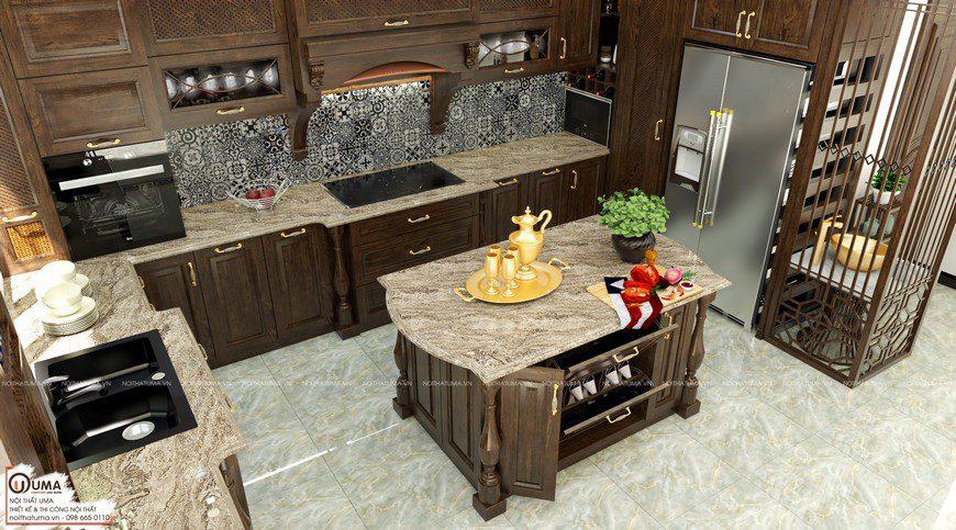 Tủ bếp gỗ óc chó có quầy bar UMA