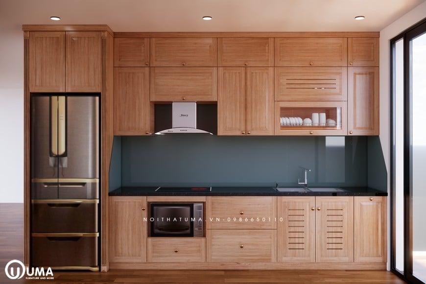 Tủ bếp gỗ Sồi Mỹ - USM 19 đạt tính thẩm mỹ cao nhờ kiểu dáng trẻ trung, hiện đại