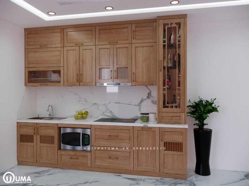 Bộ tủ bếp chữ I gỗ Sồi Mỹ cao cấp và sang trọng