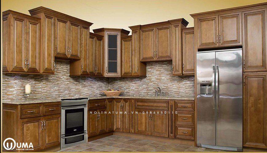 Tủ bếp gỗ Sồi Mỹ UMA