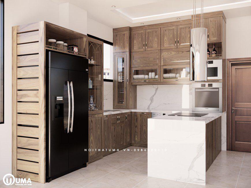Tủ bếp gỗ Sồi Mỹ có Quầy bar UMA