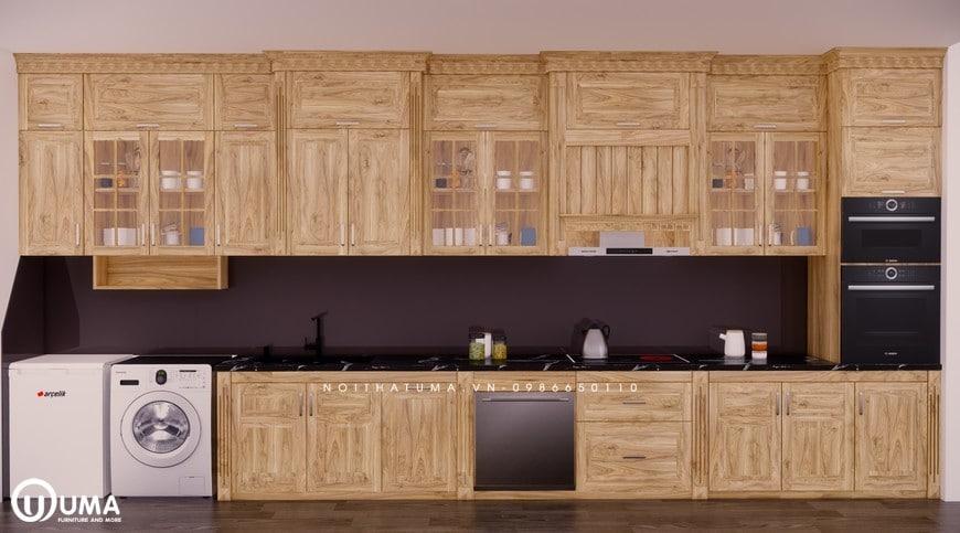 Sở hữu chiếc tủ bếp gỗ sồi nga này sẽ giúp không gian bếp trở nên thoáng, sáng và đẹp hơn