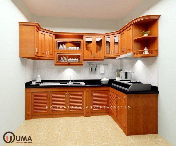 Tủ bếp gỗ xoan đào hình chữ L giúp bạn tận dụng mọi ngóc ngách trong nhà