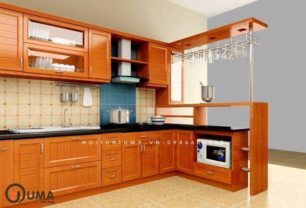 Tủ bếp xoan đào chữ L UMA