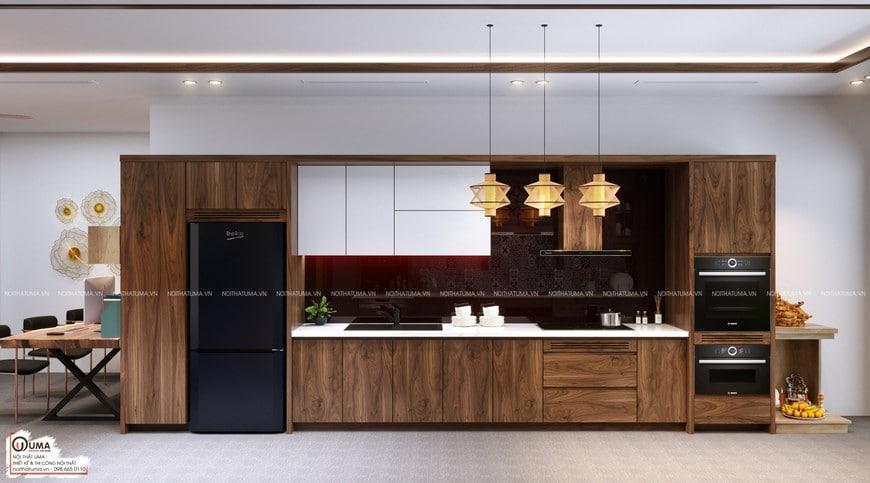 Thiết kế và thi công tủ bếp Acrylic - UAC 10 sử dụng 100% nguyên liệu gỗ công nghiệp của An Cường để sản xuất thành phẩm