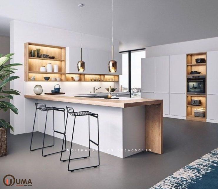 Tủ bếp nhựa có bàn đảo UMA