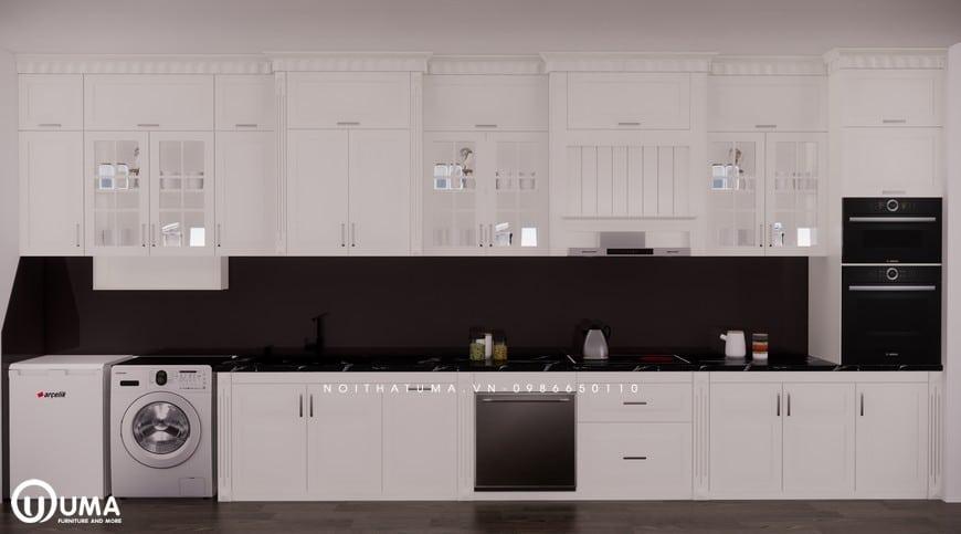 Mẫu tủ bếp gỗ Sồi Nga sơn trắng kiểu dáng chữ I