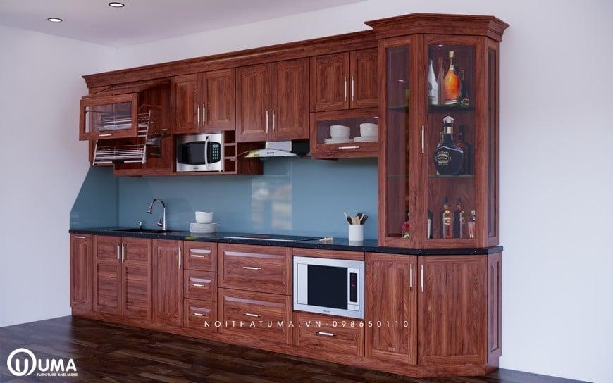 Mẫu tủ bếp gỗ Xoan đào cao cấp và hiện đại