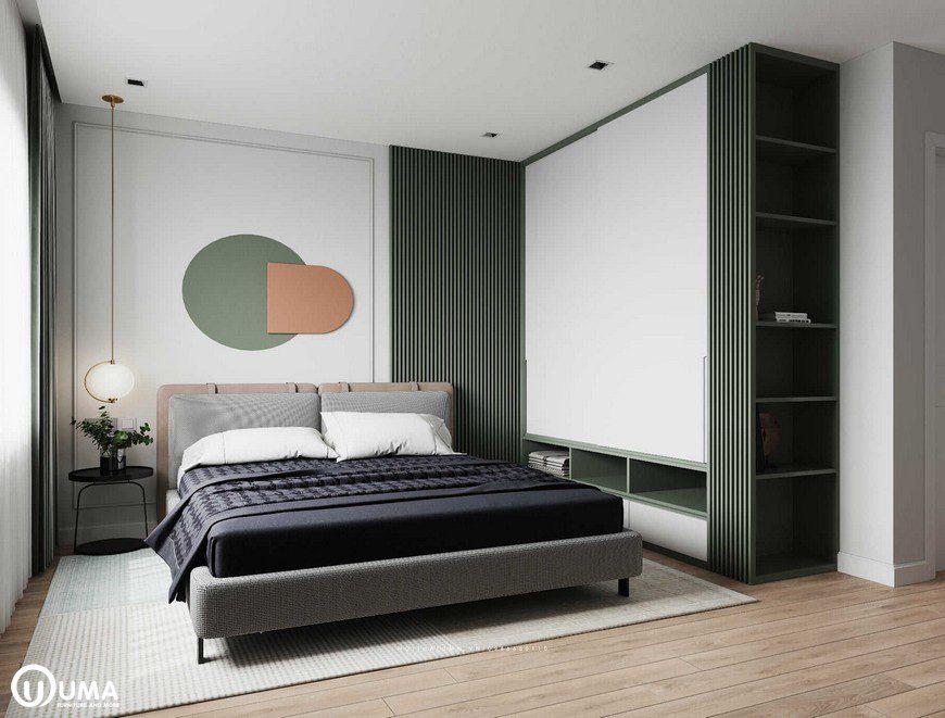 Phòng ngủ được thiết kế với tông màu củ đạo là màu xanh than