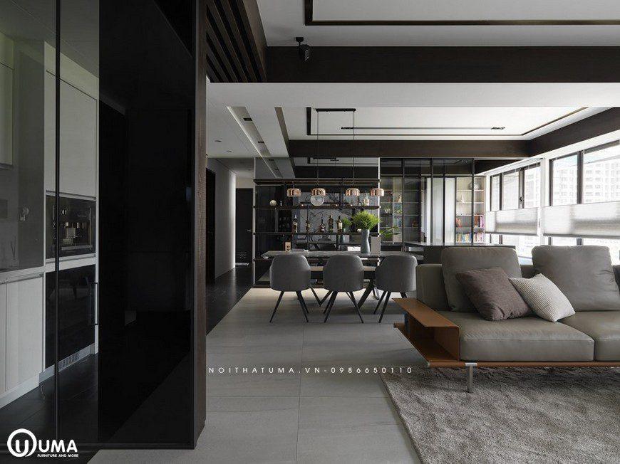 Lối đi mạch lạc sang các không gian của căn phòng đã vô tình tạo ra sự mạch lạc, tiện ích của căn hộ