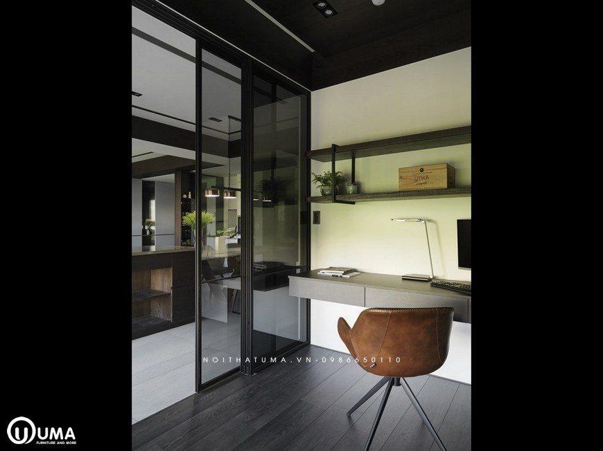 Đến với không gian phòng làm việc, được thiết kế khá đơn giản, thoải mái và gọn gàng