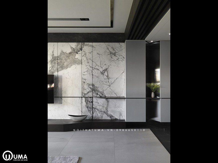 Với tông màu chủ đạo là màu đen trầm, được bao phủ toàn bộ không gian