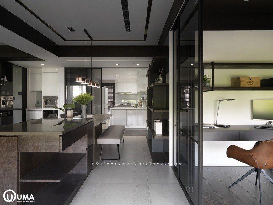 Đây là hình ảnh về không gian phòng bếp, được thiết kế cũng khá ngăn lắp và thoải mái