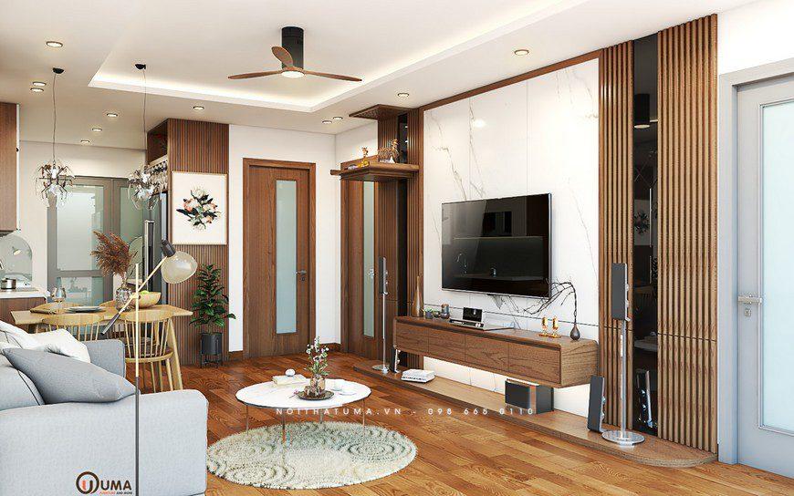 Thiết kế nội thất phòng khách nhà anh Hùng